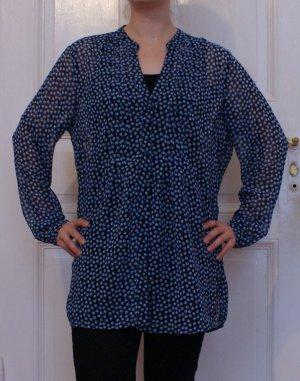 Oversize Bluse, transparent, blau