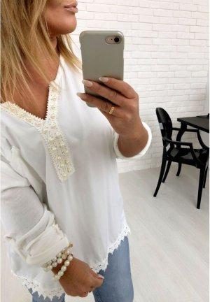 Oversize Bluse Tunika Fischerhemd mit Perlen Schmuck + Häkel Spitze in zartem Puder Rose´passt bei M-XXL
