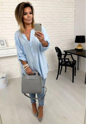 Oversize Bluse Vokuhila Hemd Fischerhemd Top Shirt passt bei L-XXL
