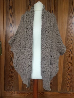 Cardigan all'uncinetto marrone-grigio