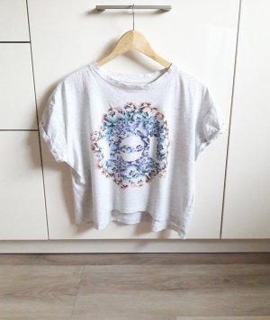 Oversize Crop Print Shirt grau/bunt Gr. S