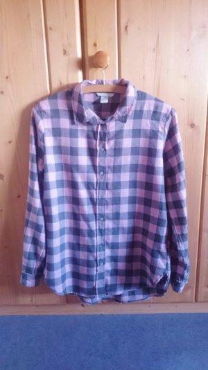 Oversize Flanell Hemd Bluse kariert rosa grau 34 XS