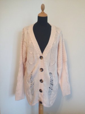 Oversize Fledermaus Strickjacke Cardigan long destroyed Blogger rose rosa lachs