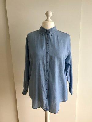 Oversize Hemd-Bluse in Jeansblau