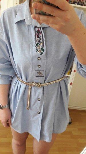 Oversize Hemd Bluse kurzes Kleid Stickerei true Vintage Sommer blogger