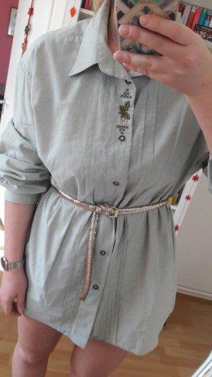 Oversize Hemd Bluse kurzes Kleid true Vintage Stickerei blogger