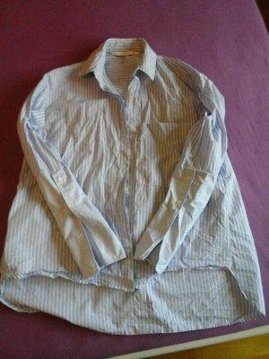 oversize hemd zara gr. xs hellblau weiss gestreift