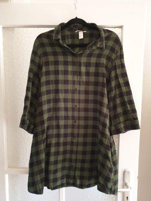 H&M Vestido tipo blusón negro-verde Algodón