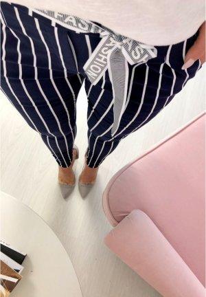 Pantalone elasticizzato blu-bianco