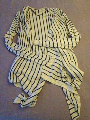 Oversize Jacke beige mit blauen Streifen