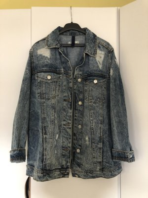 Stradivarius Denim Jacket blue-dark blue cotton