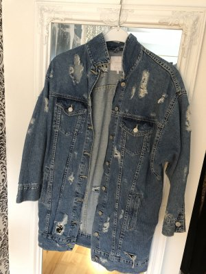 Oversize Jeansjacke, destroyed Look