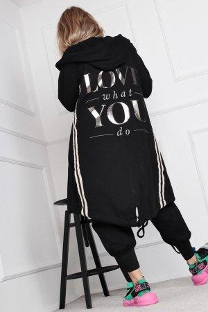 ⋙•-•-•-•➤ Oversize Jumper Jacke Schwalbenschwanz Herbst Kollektion 2019 Cape Poncho Neu Überwurf Mantel Strickjacke Strickmantel LOVE WHAT YOU DO Streifen / Stripes Blogger Einteiler Cardigan lange Jacke + XL Kapuze ◉ S M L