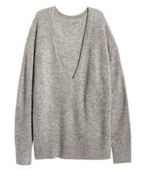 Oversize Kaschmir Sweater von H&M in Grau Kaschmirpullover 34 mit V-Ausschnitt