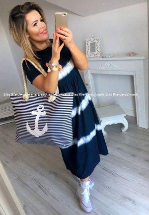 Oversize Kleid maritim Streifen Stripes geringelt Block Maxikleid Sweatkleid Rockabella passt bei S-L + die Tasche verkauf ich auch