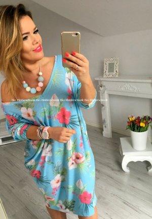 Oversize Kleid Sommerkleid Cut out sexy Rücken Partykleid Einteiler Blogger Abendkleid Blumen Flower passt L-XXXL