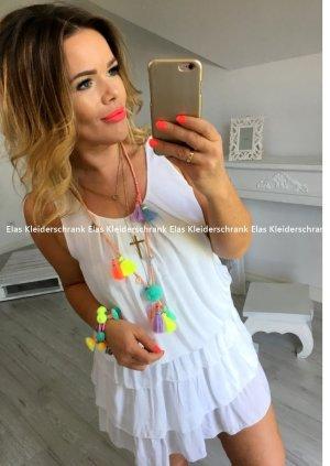 Oversize Kleid Volants Blogger Minikleid Trägerkleid Abendkleid Partykleid Sommerkleid Urlaub Kleid knielanges Kleid passt bei S-L