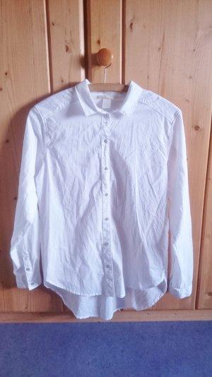 Oversize Long Basic Hemd weiß 32 34 36 XS S