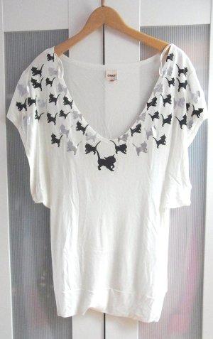 Oversize Long Shirt mit Fledermausarm Katzenprint teils glänzend Katze Cat