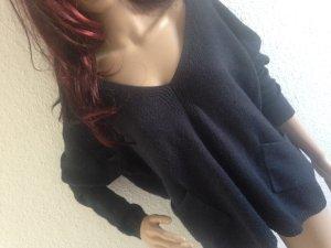 Oversize loose Pullover Pulli Sweatshirt S-M 34 36 38 Strickpullover dunkelblau mit Taschen