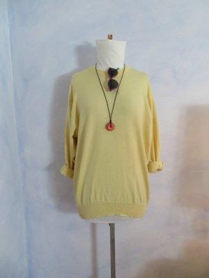 Oversize MÄRZ München Long Pullover Kleid 100% Merinowolle Gelb XL Crew-Neck Pulli