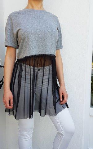 Oversize Mesch Top ONLY oversize Jersey Shirt grey grau Tüll Top Tüllkleid Tüllrock