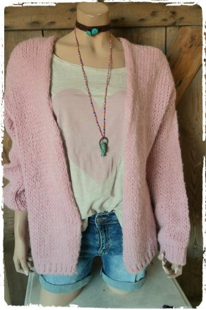 oversize mohair strickjacke rose
