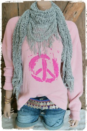 oversize Peace Pullover in rose
