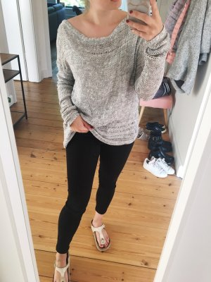 Abercrombie & Fitch Pull oversize blanc-gris clair