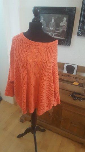 Oversize Pullover grobstrick Orange Zopfmuster weite Ärmel