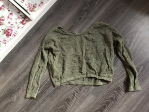 Oversize Pullover langärmelig Bauchfrei Khaki olivgrün zara