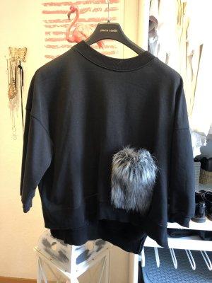 Oversize Pullover mit Felltasche