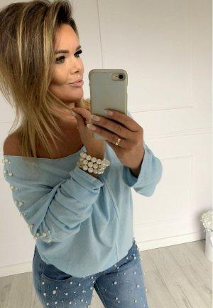 Oversize Pullover mit Perlen Vokuhila Pulli Blogger Sweater Jumper kuschelig & real ein Traum passt er bei M-XXL