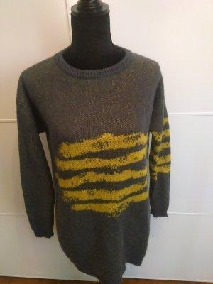Benetton Oversized Sweater grey-yellow