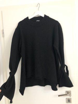 Oversize rundhals Pullover mit Schleifen an den Ärmeln Schwarz