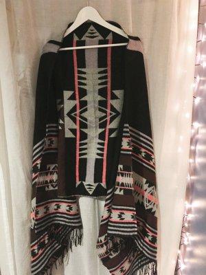 Oversize Schal Cape Umhang Boho Decke Fransen H&M