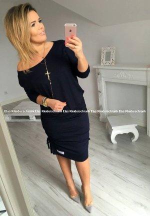 Oversize schulterfreies Carmen Kleid Sweatkleid knielang blau passt S-L