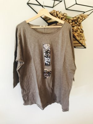 Oversize-Shirt 3/4 Arm mit Pailettenlogo