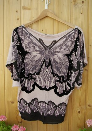 oversize Shirt Fledermausschirt rosa nude Schmetterling Aufdruckt leichter Shirt