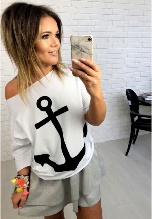 Oversize Shirt im maritimen Look Sweater ANKER Sailor Rockabella schulterfrei Carmenausschnitt Top Shirt Blogger Bluse Sommer Urlaub 2018 passt bei L/XL