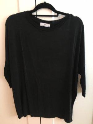 Oversize Shirt Materialmix schwarz