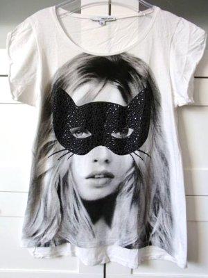 Oversize Shirt mit Frau Katzen Gesicht Nieten