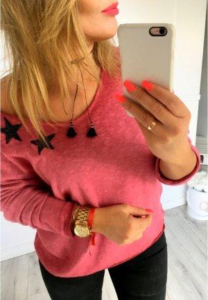 Oversize Shirt Pulli Sweater Pullover top Shirt weiß Stern Star Glitzer Pailletten BLING BLING passt bei M-XL
