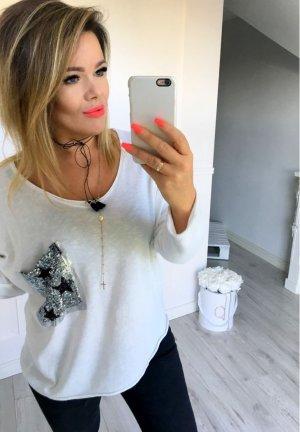 Oversize Shirt Pulli Sweater Pullover top Shirt weiß Stern Star Glitzer Pailletten BLING BLING passt bei M-XXL