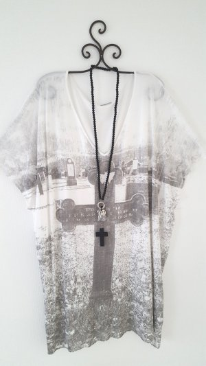 H&M Oversized Shirt white-silver-colored viscose