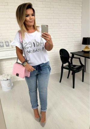 Oversize Shirt Top Hemd Bluse T-Shirt Sweater Print BLING BLING Strass Pailetten S/M