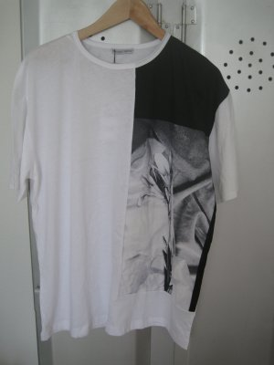 Zara Print Shirt black-white cotton