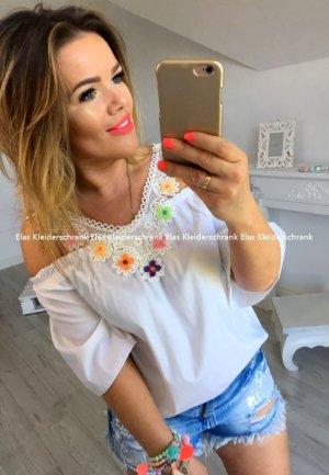 Oversize Sommer Bluse Stickerei Cut out´s Neon Hippie Hemd Blogger Tunika Häkel Spitze Lace Shirt Top Träger Oberteil puder blau passt S-L