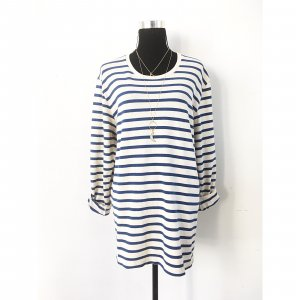 Pull long blanc-bleu coton