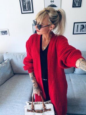 Knitted Coat red-dark red